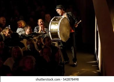 "ODESSA, UKRAINE -24 December 2016: Performance in theater of modern fashionable rock band ""MONEY GO"" Felix Shinder. Jazz music on stage. Pop Music Concert"