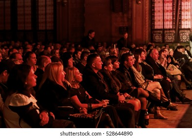 ODESSA, UKRAINE - 25 November 2016: The audience at the concert of creative light show during fashion jazz orchestra.