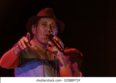 ODESSA, UKRAINE - 26 November 2016: Concert Tribute show Adriano Celentano. The soloist of the musical group - Adolfo Sebastiani - known singer, showman Celentano double