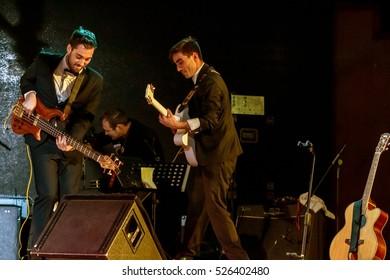 ODESSA, UKRAINE - 26 November 2016: Concert Tribute show Adriano Celentano. The soloist of the musical group - Adolfo Sebastiani - known singer, showman Celentano double
