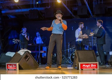 ODESSA, UKRAINE - 28 November 2016: Concert Tribute show Adriano Celentano. The soloist of the musical group - Adolfo Sebastiani - known singer, showman Celentano double