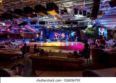 ODESSA, UKRAINE - 28 November 2016: Concert Tribute show Adriano Celentano. The soloist of the musical group - Adolfo Sebastiani - known singer, showman Celentano double