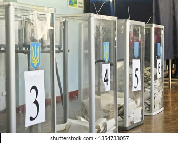 Odessa, Ukraine - 31 March 2019: place for people of voting voters in the national political elections in Ukraine. Ballot box for of voting voters. Electorate. Parliament. President