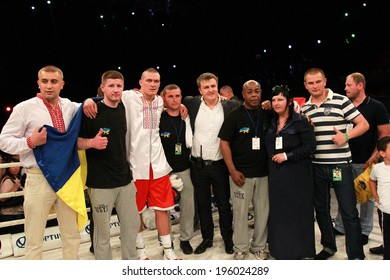 ODESSA, UKRAINE -31 May 2014: World heavyweight boxing champion, Alexander Usyk - Ukraine and  team in  boxing ring after winning over Cesar David CRENZ - Argentina, May 31, 2014 in Odessa, Ukraine.