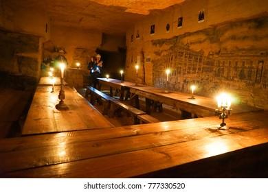 Odessa, Ukraine. 6 December 2017. Inside the Odessa Catacombs And The Secrets of Underground Odessa Museum