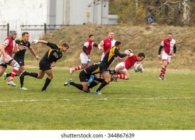 Odessa, Ukraine -6 November 2015: Ukrainian Cup rugby CREDO - Odessa and Olympic - Kharkov. Tense moment scrum during the match of men