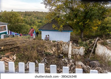 ODESSA, UKRAINE, 6 October 2014: Old house in Ukrainian village. Endangered agriculture, abandoned houses. Government is not engaged in problems of  village. Poor depressed area