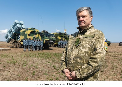 ODESSA, UKRAINE - Apr 05, 2019: President of Ukraine Petro Poroshenko took part in the trials of the latest Ukrainian cruise missile complex  for defeating the marine and coastal targets Neptune