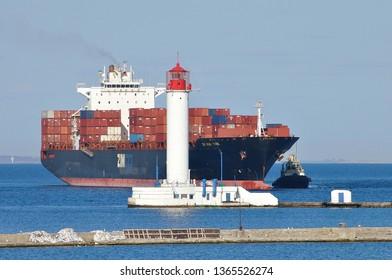 "Odessa / Ukraine - April 03 2019: Container ship ""ZIM NEW YORK"" IMO 9231810 came to Odessa from Novorossiysk"