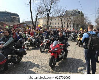 ODESSA, UKRAINE - APRIL 1: bikers with Humorina flags in main street in Odessa on April 1, 2017.  Humorina - traditional festival of humor and satire annually held in Odessa on the April Fool's Day