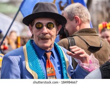ODESSA, UKRAINE - APRIL 1: participants of a festival Humorina in Odessa on April 1, 2014. Humorina is a great humor fest, annually held in Odessa on the April Fool's Day