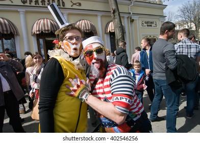 ODESSA, UKRAINE - APRIL 1: people celebrate Humor in Odessa April 1, 2016 . Humor is a great humor fest , held annually in Odessa on April 1