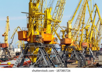 ODESSA, UKRAINE - APRIL 15: maritime cargo ship moored in  harbor of Odessa sea port . Loading are carried out works of Ukrainian industrial goods, April 15, 2014 Odessa, Ukraine