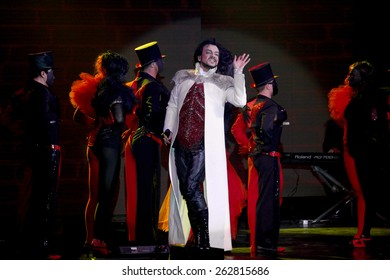 Odessa, Ukraine, April 17 2012: Pop concert iconic Russian singer Philip Kirkorov in Odessa. Bright colorful light and theatrical show with the full house.