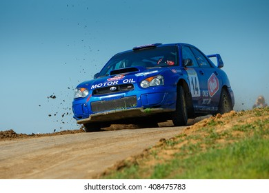 "ODESSA, UKRAINE - APRIL 17: Reel Alex driving his car Subaru STI  at the 1-st stage ""Severinov"" of the championship of Ukraine ""Liman Cup"" on April 17, 2016 in Odessa, Ukraine."
