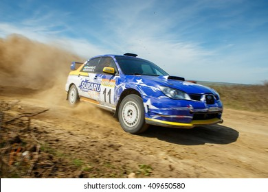 "ODESSA, UKRAINE - APRIL 17: Roshchenko Alex driving his car Subaru STI  at the 1-st stage ""Severinov"" of the championship of Ukraine ""Liman Cup"" on April 17, 2016 in Odessa, Ukraine."