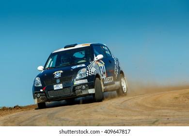 "ODESSA, UKRAINE - APRIL 17: Saifudinov Alex driving his car Suzuki Swift at the 1-st stage ""Severinov"" of the championship of Ukraine ""Liman Cup"" on April 17, 2016 in Odessa, Ukraine."