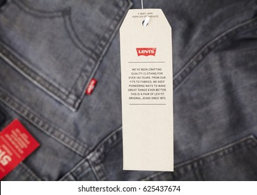 Odessa, Ukraine, April 21, 2017. Close up of the LEVI'S label on the jeans baground. LEVI'S is a brand name of Levi Strauss and Co, founded in 1853