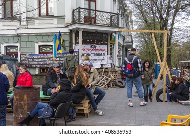 ODESSA, UKRAINE - April 9, 2016: People at protest. Protesters blocked entrance to Prokuratutu flammable debris. Protesters threaten arson. Actions neo-Nazi groups. Anti-government protests extremists