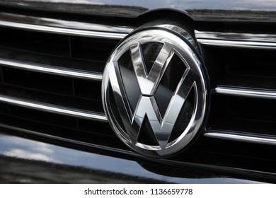 ODESSA, UKRAINE - AUGUST 13, 2017: Volkswagen logo and badge on the car