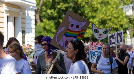 ODESSA, UKRAINE - August 13, 2017: people participated in gay parade demonstration to support rights of LGBT people (lesbian, gay, bisexual and transgender). Odessa Pride of color of rainbow