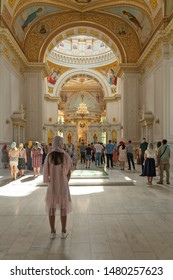 Odessa, Ukraine - August 16, 2019: People on liturgy in Odessa Cathedral - Orthodox church, dedicated to the Saviour's Transfiguration.