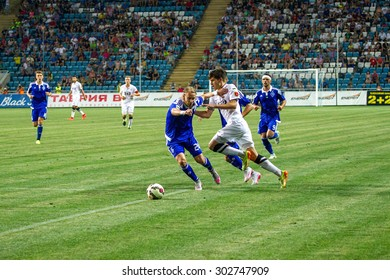 ODESSA, UKRAINE - August 2, 2015: Fragment of football games Major League Ukraine between FC Chernomorets Odessa - FC Dynamo Kiev. Odessans won 2-0.