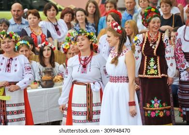 ODESSA, UKRAINE - AUGUST 23: Ukrainian wedding at Vyshivankovy Festival on August 23,2015 in Odessa, Ukraine