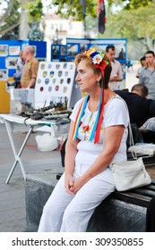 ODESSA, UKRAINE - AUGUST 23:  Ukrainians in national costumes at Vyshivankovy Festival on August 23,2015 in Odessa, Ukraine