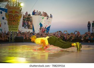 Odessa, Ukraine August 24, 2017: break dance battle. Championship breakdance. b-boy compete in dance. street dancing. urban culture. hip hop culture