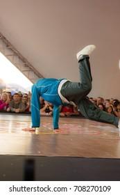 Odessa, Ukraine August 24, 2017: break dance battle. Championship breakdance. b-boy compete in dance. street dancing. urban culture of break-dance. hiphop culture