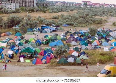Odessa, Ukraine August 24, 2017: camp on the beach. Big tent camp on sand of sea coast