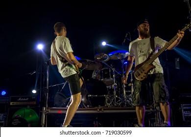 ODESSA, UKRAINE - August 24,2017: Big rock concert of popular Russian rapper, rock musician Noize MC on stage of popular beach sports and music festival Z-Games. Rap Musician Noize MC. Select focus