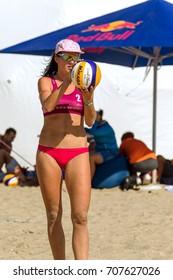 ODESSA, UKRAINE - August 26, 2017: Ukrainian Beach Volleyball Championship on  sea beach during the Z-Games Festival. Men and women play volleyball on beach sand. Volleyball on sand. Beach volleyball
