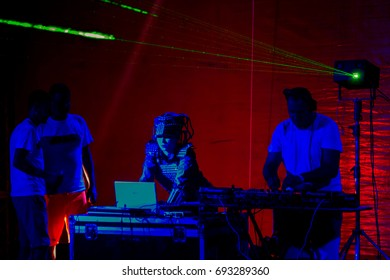 ODESSA, UKRAINE - August 5, 2017: lights show. Laser show. Nightclub dj parties use music, dancing sound with bright light. Club night light dj party club. With car for smoke and lights