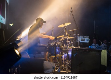 Odessa, Ukraine August 9, 2018: Famous Russian Rock Band VIKTOR performs songs from stage during concert at nightclub. Artist on club stage during night party.