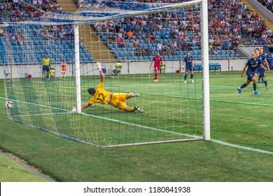 ODESSA, UKRAINE - August 9, 2018: UEFA Europa League 2018 FC Mariupol (Ukraine) - FC Girondins de Bordeaux (France) A tense football match of the European League. Bordeaux - France - red