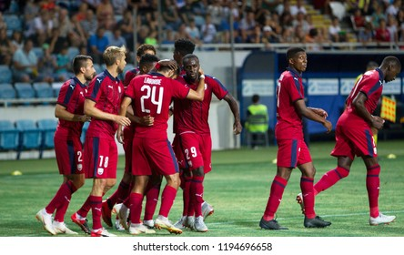 ODESSA, UKRAINE - August 9, 2018: UEFA Europa League 2018 FC Girondins de Bordeaux (France) Football match of Europa League. Bordeaux - France - warm-up, training before match with FC Mariupol Ukraine