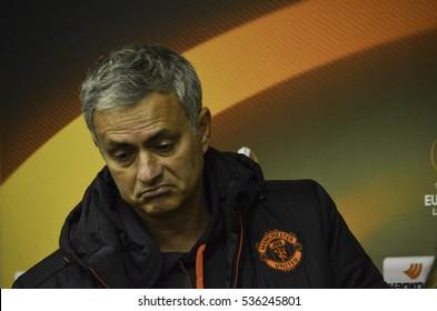 ODESSA, UKRAINE - December 08, 2016: Coach Jose Mourinho at a press conference during the UEFA Europa League match between Zarya Lugansk vs Manchester United (United Kingdom), Ukraine
