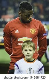 ODESSA, UKRAINE - December 08, 2016: Paul Pogba during the UEFA Europa League match between Zarya Lugansk vs Manchester United (Manchester, United Kingdom), Ukraine