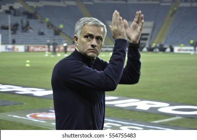 ODESSA, UKRAINE - December 08, 2016: Jose Mourinho during the UEFA Europa League match between Zarya Lugansk vs Manchester United (Manchester, United Kingdom), Ukraine