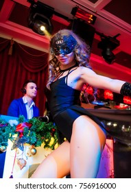 Odessa, Ukraine December 31, 2014: Go go dancer. Dance show at night club. Performance show during night party.
