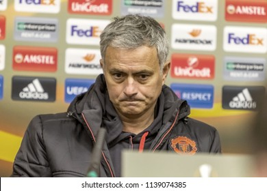 Odessa, Ukraine - December 7, 2016: head coach, Manchester United FC manager Jose Mourinho at press conference before game UEFA Europea League FC Zarya Lugansk.  press conference Jose Mourinho