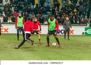 Odessa, Ukraine - December 8, 2016: Football game of the Europa League. FC Zorya Lugansk FC and Manchester United. 0: 2. Train Manchester warm-up on the field before the game