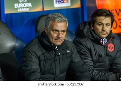Odessa, Ukraine - December 8, 2016: head coach, manager Jose Mourinho Manchester United stadium before the game Manchester United and Zorya Luhansk. Bench players Manchester