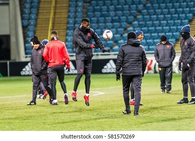 Odessa, Ukraine - December 8, 2016: An open for press training session of Manchester United (Manchester, UK). Football Manchester on pitch. Train Manchester United at stadium