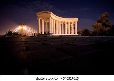 Odessa, Ukraine. Deribasovskaya street, port, dock, theatre of opera, Monument to Duke of Richelieu