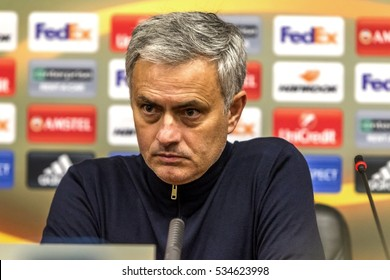 Odessa, Ukraine - Detsember 8, 2016: head coach, Manchester United manager Jose Mourinho at press conference of UEFA Europea League MANCHESTER against FC Zorya Lugansk. Press conference Jose Mourinho