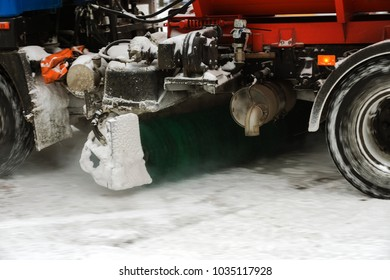 ODESSA, UKRAINE - February 26, 2018: heavy snowfall, cyclone in the streets in winter. Bad weather in winter. Snow-removing machines clean snow and clean the streets of a snow-covered city