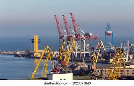 ODESSA, UKRAINE - January 15, 2018: the commercial sea port of Odessa. Passenger and cargo container berth of the sea trading port in the harbor of the Odessa sea bay